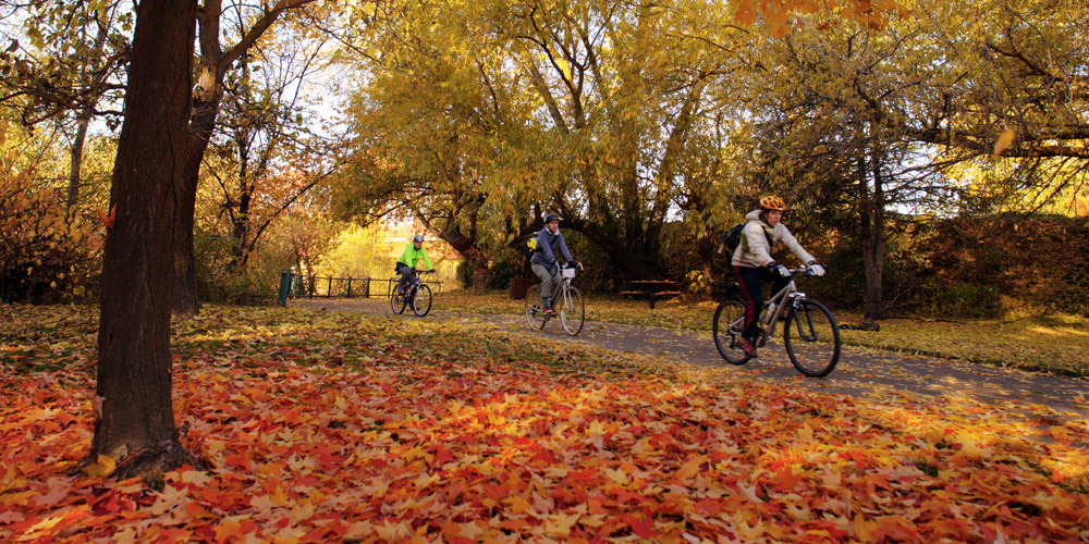 Cyclists enjoy the Boise Greenbelt, a 25-mile park lining both sides of the Boise River through the heart of downtown.