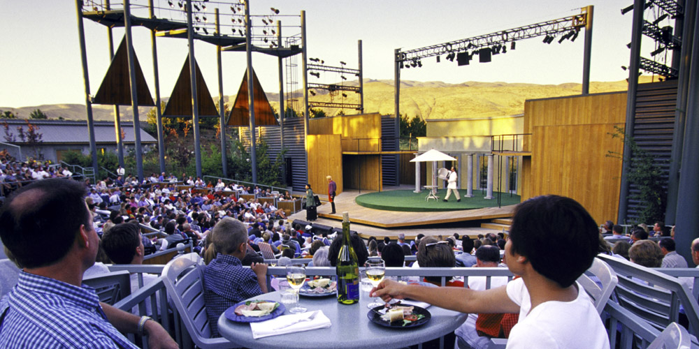 Theater lovers attend a performance at the Idaho Shakespeare Festival, the city's cultural ambassador.