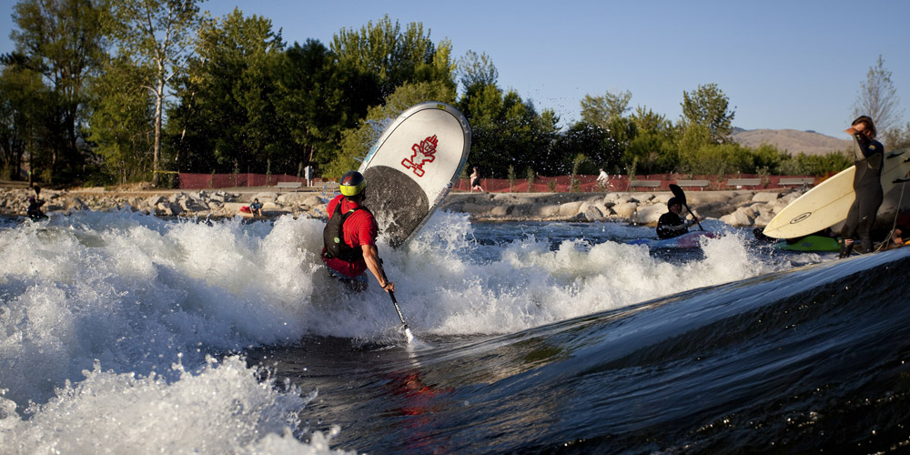 Lovers of whitewater enjoy the new Boise River Park and its customized wave-shaper.